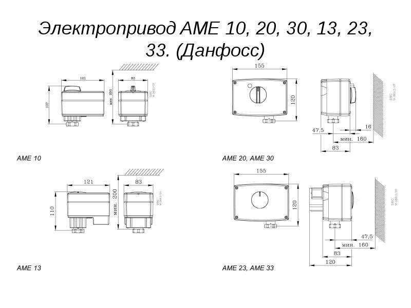 Электропривод AME 10, 20, 30, 13, 23, 33. (Данфосс)