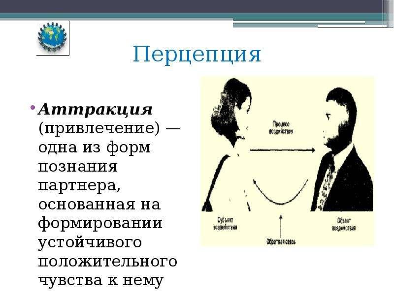 Перцепция Аттракция (привлечение) — одна из форм познания партнера, основанная на формировании устой