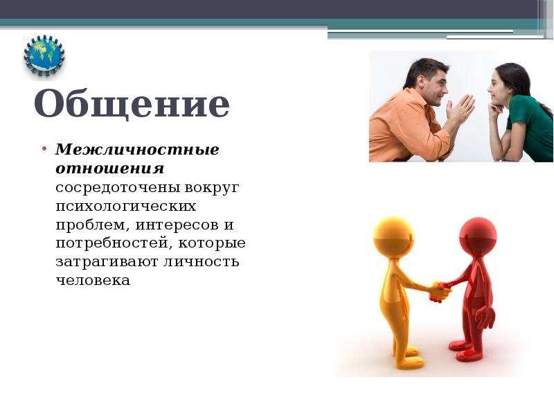 Общение Межличностные отношения сосредоточены вокруг психологических проблем, интересов и потребност