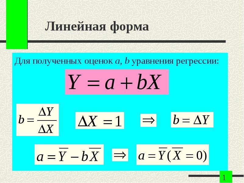 Линейная форма Для полученных оценок a, b уравнения регрессии: