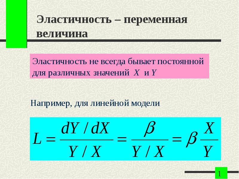 Эластичность – переменная величина Например, для линейной модели