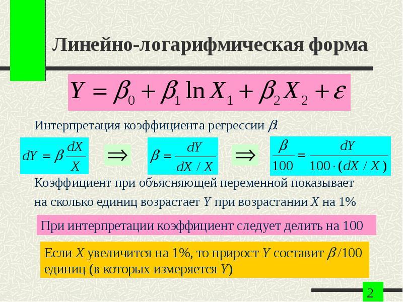 Линейно-логарифмическая форма Интерпретация коэффициента регрессии : Коэффициент при объясняющей пе