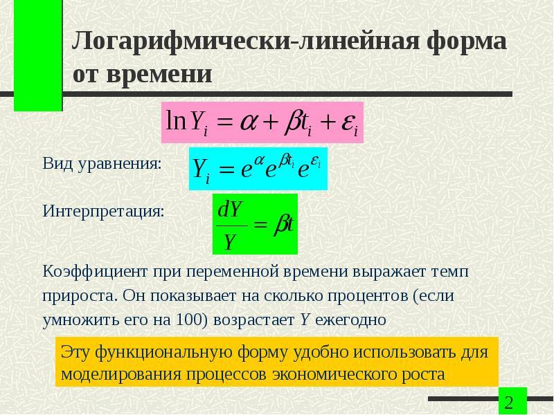 Логарифмически-линейная форма от времени Вид уравнения: Интерпретация: Коэффициент при переменной вр