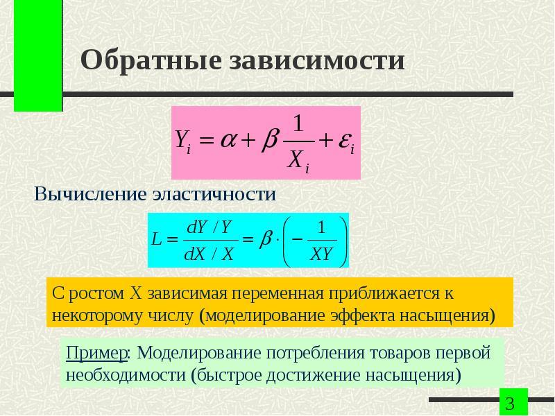 Обратные зависимости Вычисление эластичности