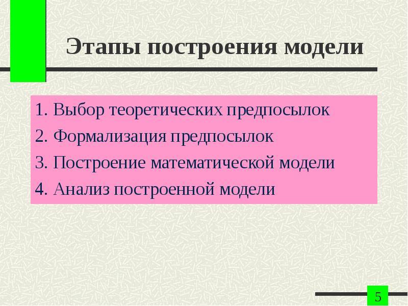Этапы построения модели 1. Выбор теоретических предпосылок 2. Формализация предпосылок 3. Построение