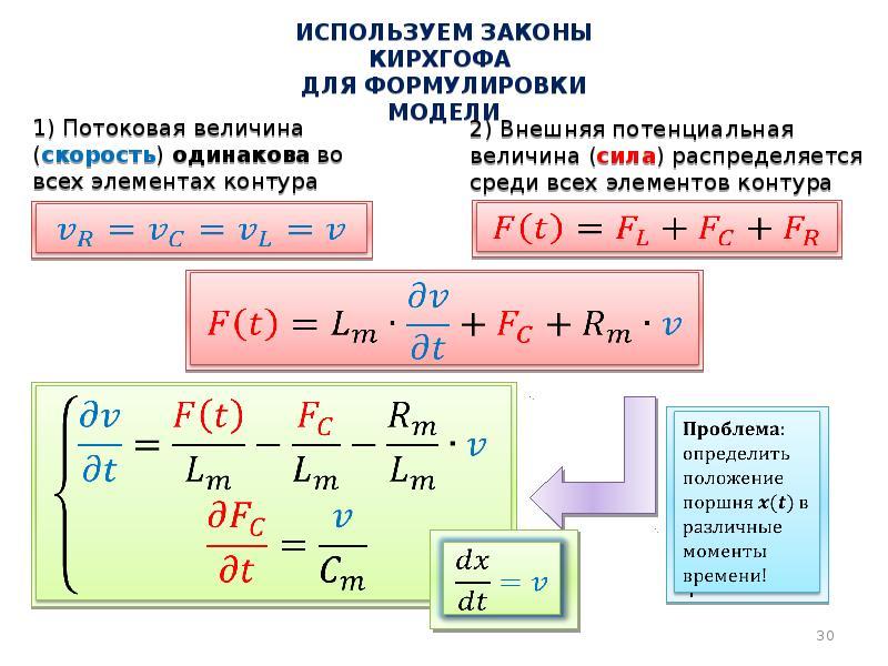 Используем законы кирхгофа для формулировки модели