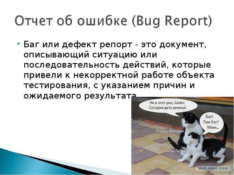 Баг или дефект репорт - это документ, описывающий ситуацию или последовательность действий, которые