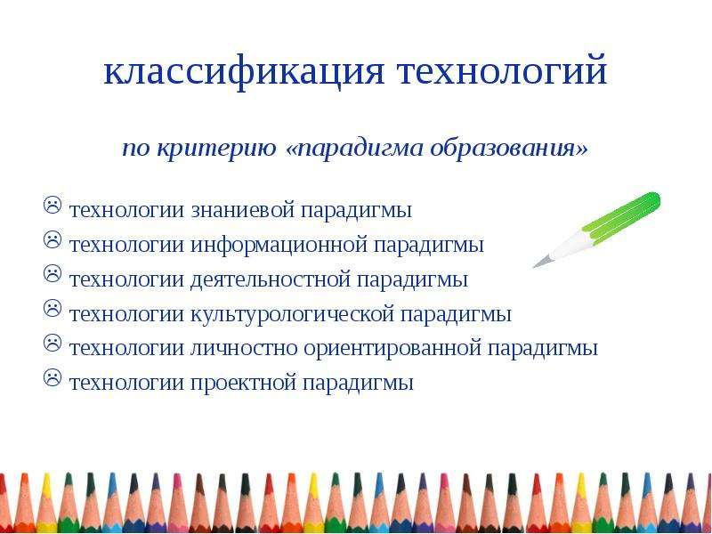 классификация технологий по критерию «парадигма образования» технологии знаниевой парадигмы технолог