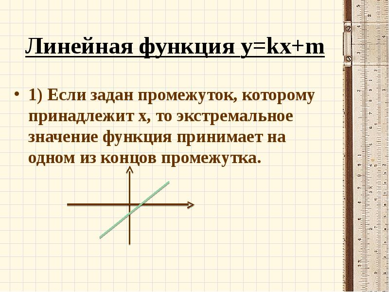 Линейная функция y=kx+m 1) Если задан промежуток, которому принадлежит х, то экстремальное значение
