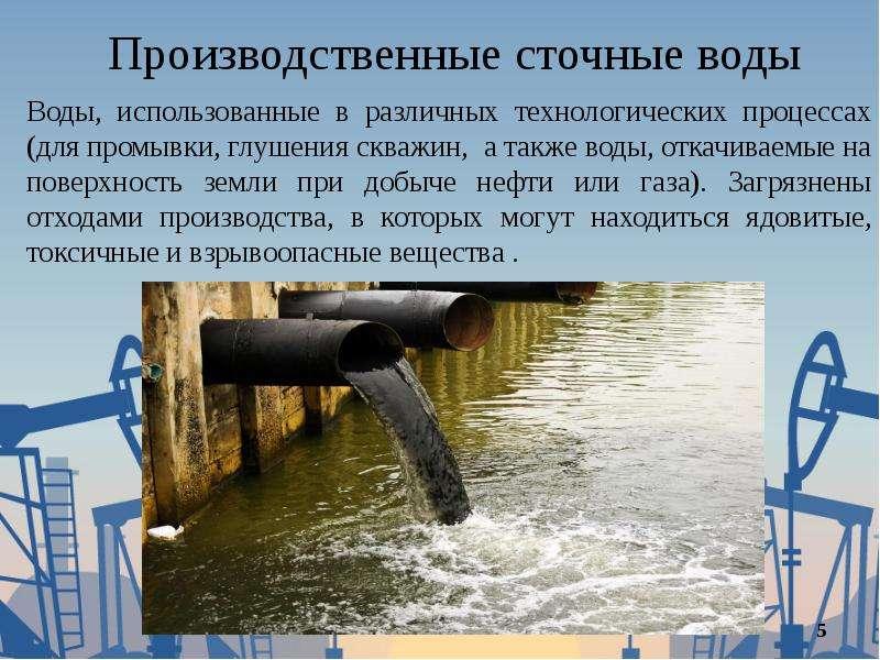 Производственные сточные воды Воды, использованные в различных технологических процессах (для промыв