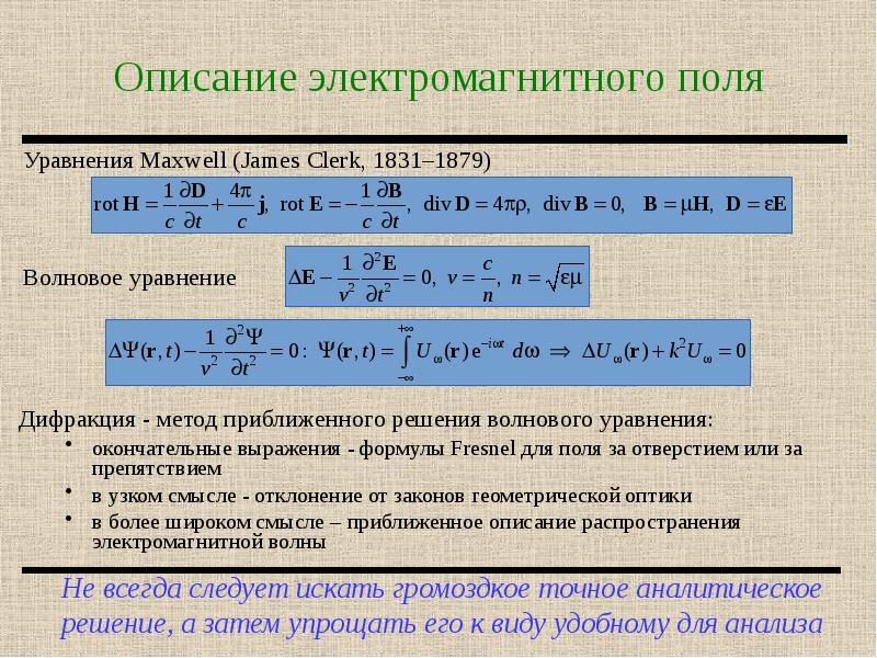 Описание электромагнитного поля