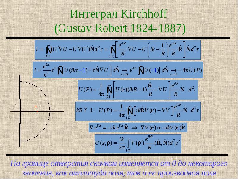 Интеграл Kirchhoff (Gustav Robert 1824-1887)