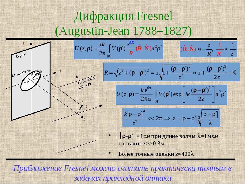 Дифракция Fresnel (Augustin-Jean 1788–1827)