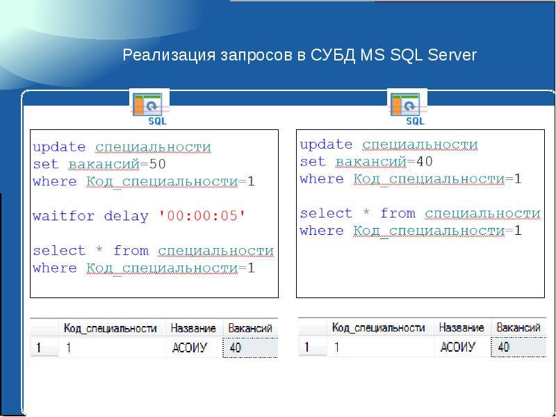 Реализация запросов в СУБД MS SQL Server