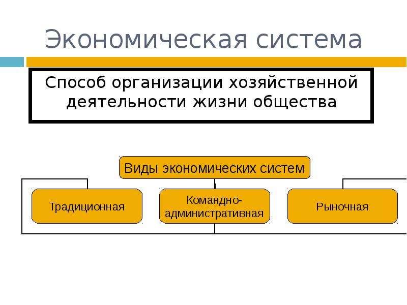 Экономическая система Способ организации хозяйственной деятельности жизни общества