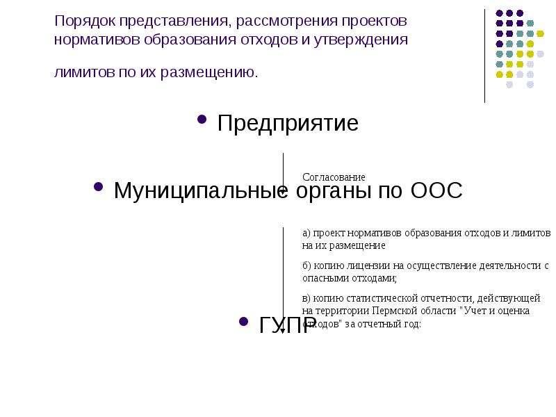 Порядок представления, рассмотрения проектов нормативов образования отходов и утверждения лимитов по
