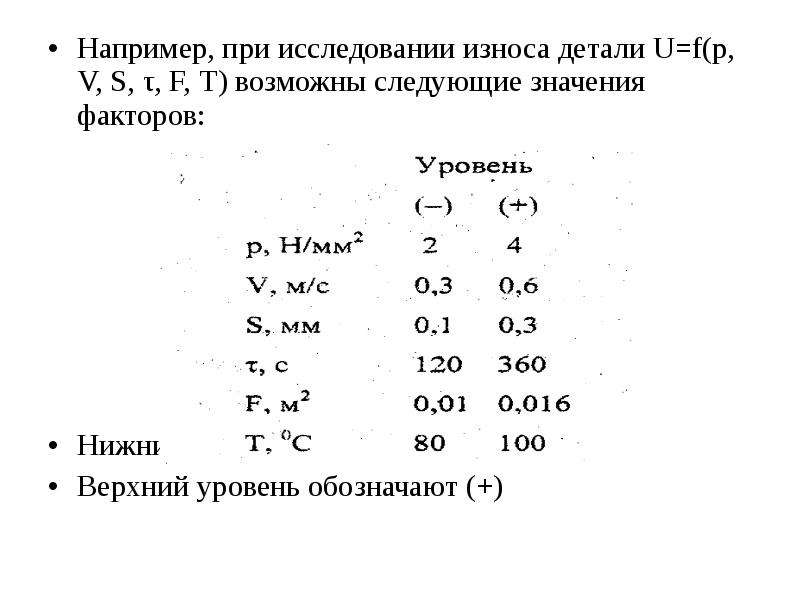 Например, при исследовании износа детали U=f(p, V, S, τ, F, T) возможны следующие значения факторов: