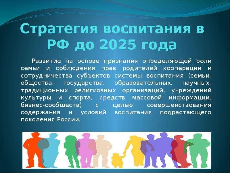 Стратегия воспитания в РФ до 2025 года Развитие на основе признания определяющей роли семьи и соблюд