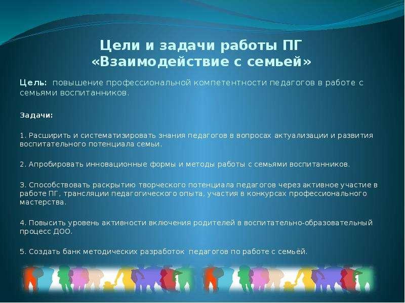 Цели и задачи работы ПГ «Взаимодействие с семьей» Цель: повышение профессиональной компетентности пе