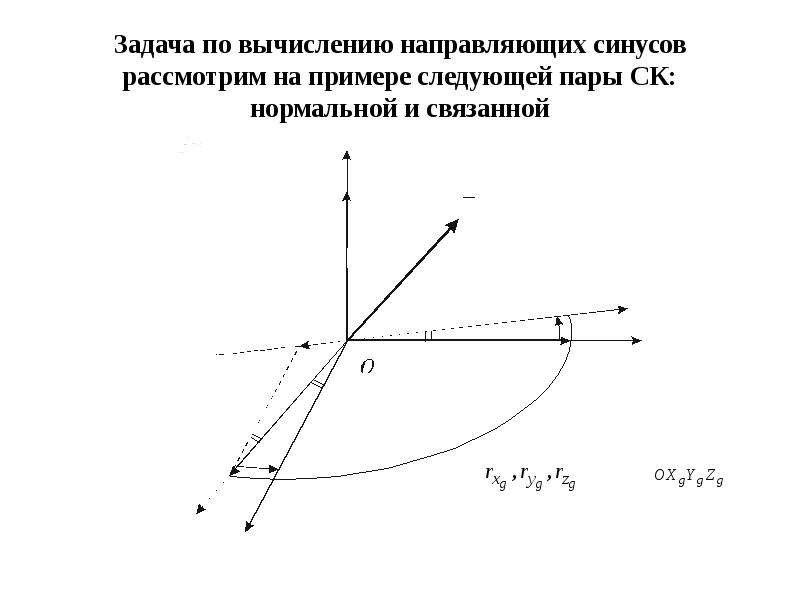Задача по вычислению направляющих синусов рассмотрим на примере следующей пары СК: нормальной и связ