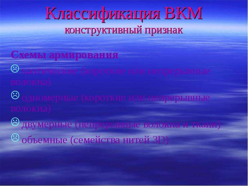 Классификация ВКМ конструктивный признак Схемы армирования хаотические (короткие или непрерывные вол
