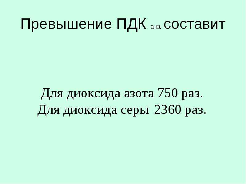 Превышение ПДК а. в. составит