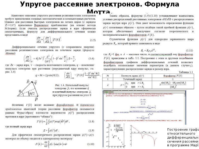 Упругое рассеяние электронов. Формула Мотта.