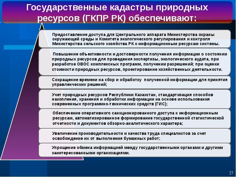Государственные кадастры природных ресурсов Республики Казахстан, слайд 27