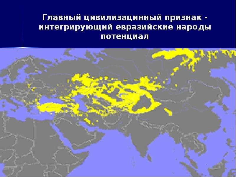 Главный цивилизацинный признак - интегрирующий евразийские народы потенциал