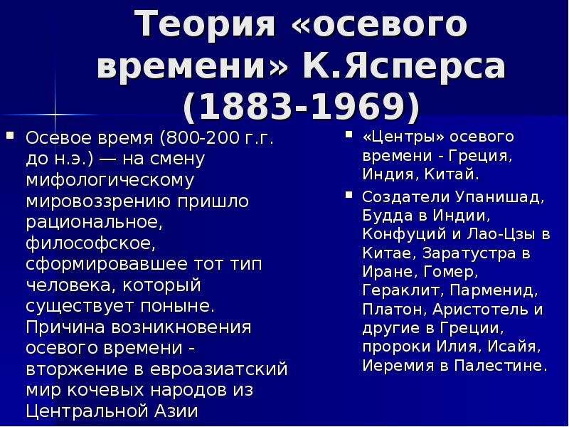 Теория «осевого времени» К. Ясперса (1883-1969) Осевое время (800-200 г. г. до н. э. ) — на смену ми