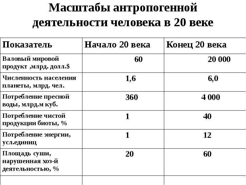 Масштабы антропогенной деятельности человека в 20 веке