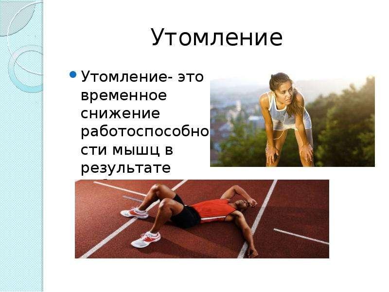 Утомление Утомление- это временное снижение работоспособности мышц в результате работы .