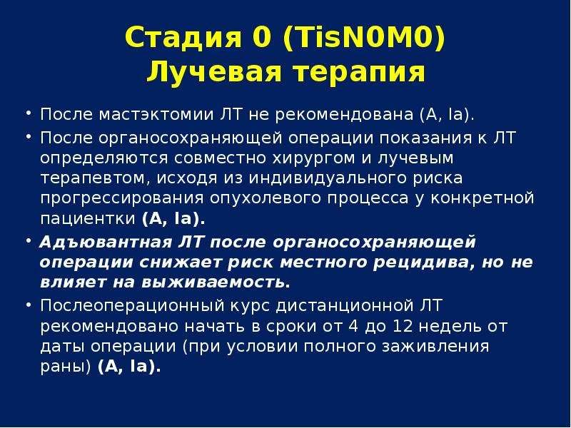 Стадия 0 (ТisN0М0) Лучевая терапия После мастэктомии ЛТ не рекомендована (А, Ia). После органосохран