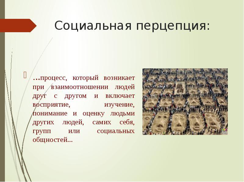 Социальная перцепция: . . . процесс, который возникает при взаимоотношении людей друг с другом и вкл