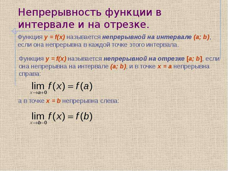 Непрерывность функции в интервале и на отрезке.