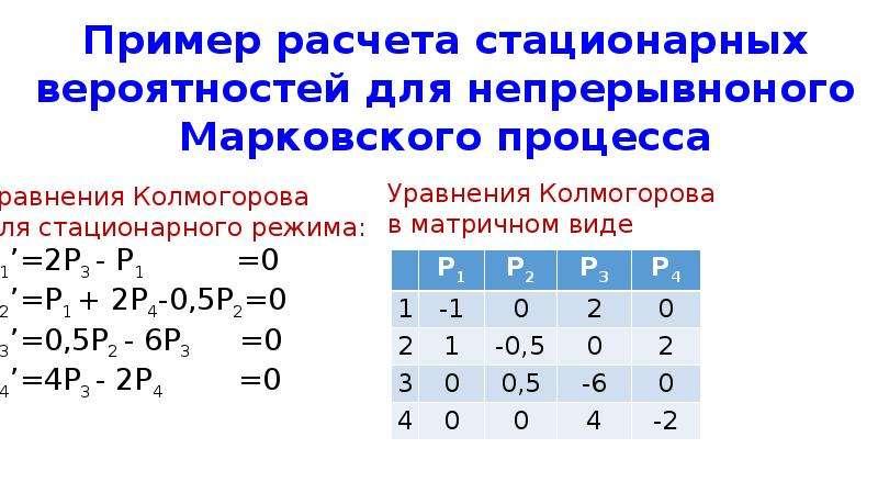 Пример расчета стационарных вероятностей для непрерывноного Марковского процесса