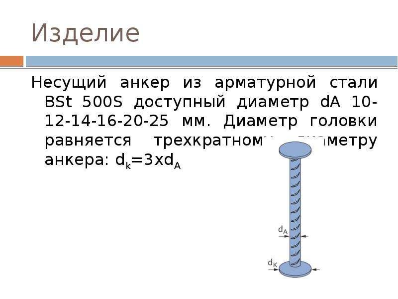 Изделие Несущий анкер из арматурной стали BSt 500S доступный диаметр dA 10-12-14-16-20-25 мм. Диамет