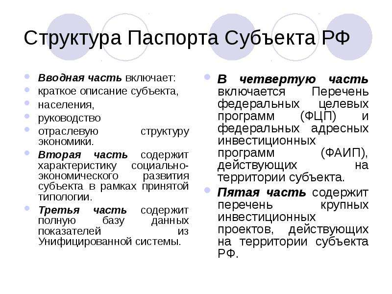 Структура Паспорта Субъекта РФ Вводная часть включает: краткое описание субъекта, населения, руковод