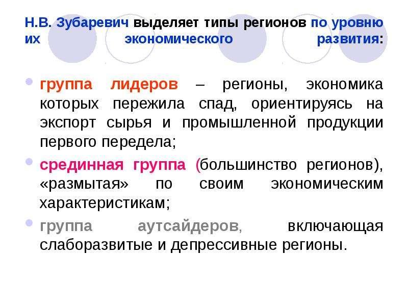 Н. В. Зубаревич выделяет типы регионов по уровню их экономического развития: группа лидеров – регион