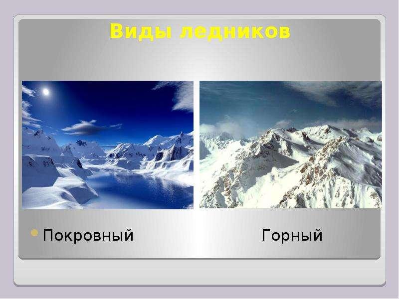 Виды ледников Покровный Горный