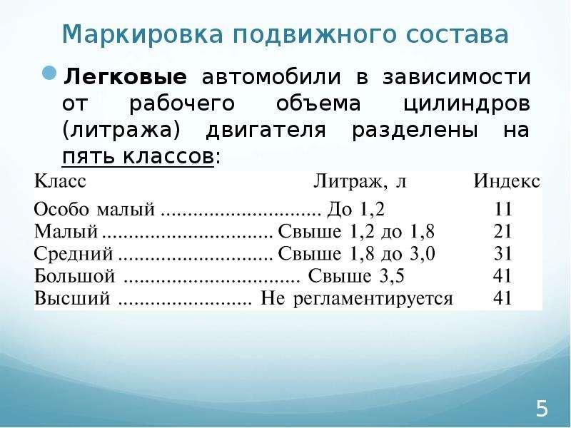 Маркировка подвижного состава Легковые автомобили в зависимости от рабочего объема цилиндров (литраж
