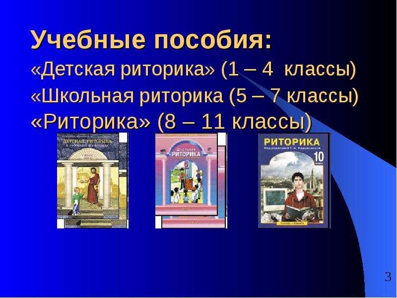Учебные пособия: «Детская риторика» (1 – 4 классы) «Школьная риторика (5 – 7 классы) «Риторика» (8 –