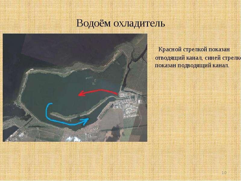 Водоём охладитель Красной стрелкой показан отводящий канал, синей стрелкой показан подводящий канал.
