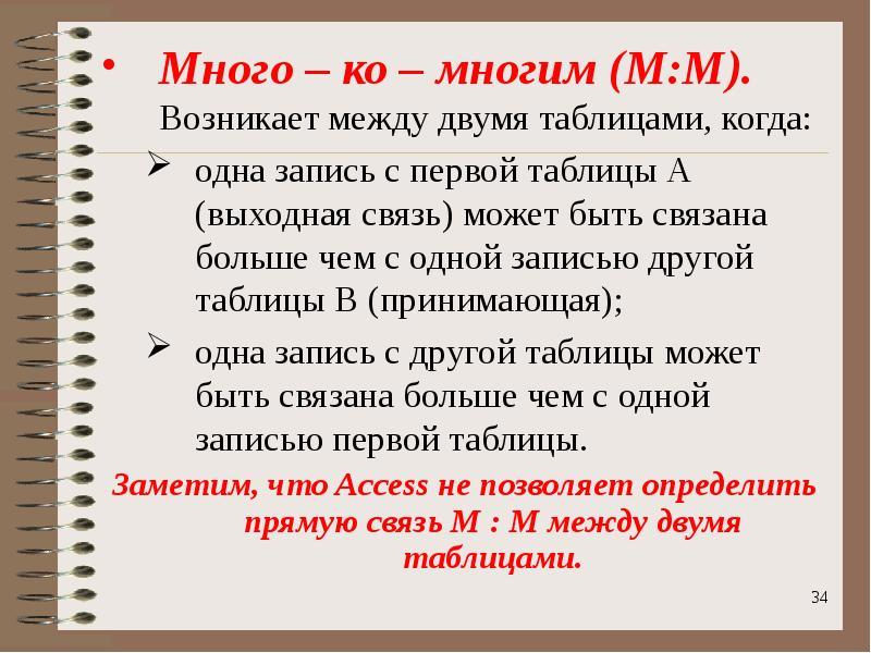 Много – ко – многим (М:М). Возникает между двумя таблицами, когда: Много – ко – многим (М:М). Возник