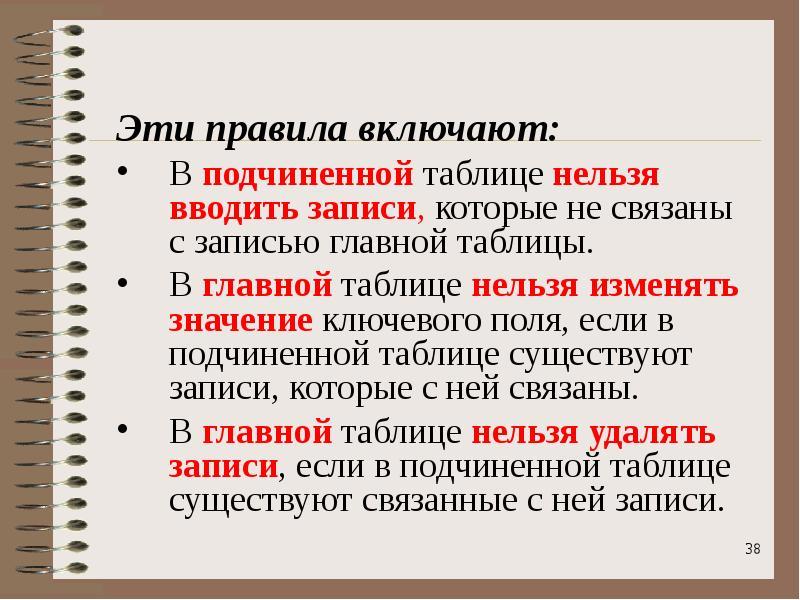Эти правила включают: Эти правила включают: В подчиненной таблице нельзя вводить записи, которые не