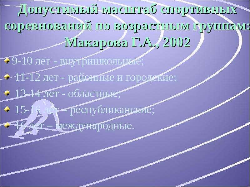 Допустимый масштаб спортивных соревнований по возрастным группам: Макарова Г. А. , 2002 9-10 лет - в