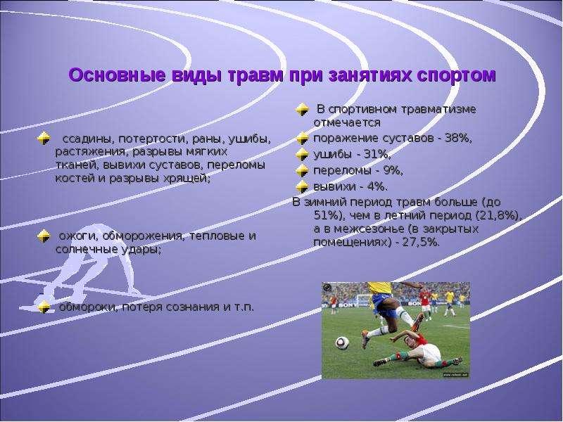 Основные виды травм при занятиях спортом ссадины, потертости, раны, ушибы, растяжения, разрывы мягки