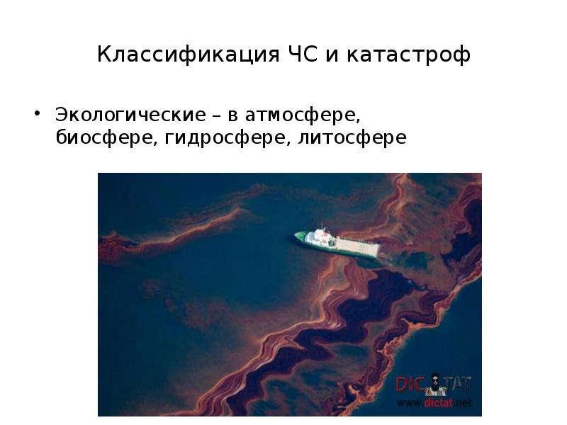 Классификация ЧС и катастроф Экологические – в атмосфере, биосфере, гидросфере, литосфере