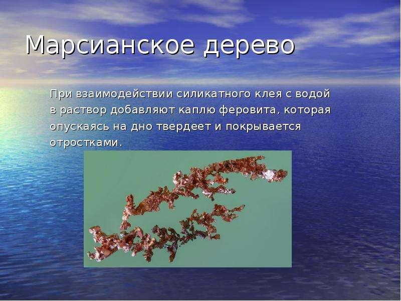 Марсианское дерево При взаимодействии силикатного клея с водой в раствор добавляют каплю феровита, к
