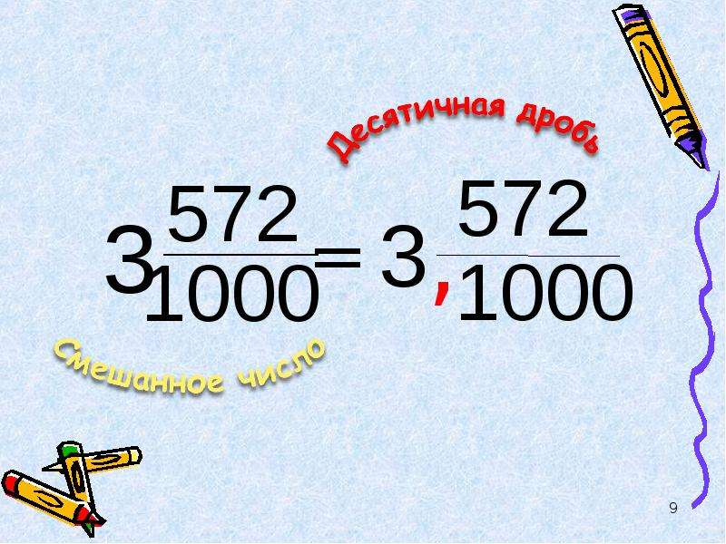 Смешанные числа. Математический диктант, слайд 9